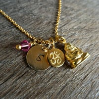 Gold YOGA Necklace,Tiny Om charm, Happy Buddha, initial disc, birthstone necklace. Personalized Yoga Necklace, Outdoor and Sportsman ,
