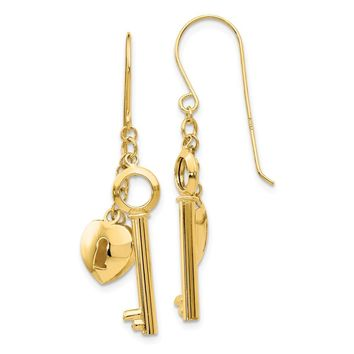 14K Yellow Gold Gold Puff Heart Lock and Key Earrings