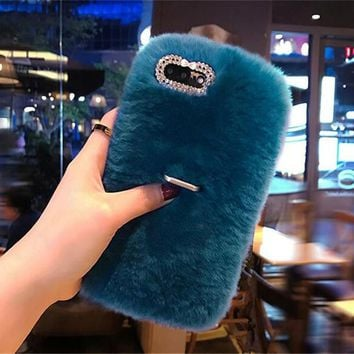 LaMaDiaa Furry Rabbit Fur Phone Cases For iPhone 6 6s Plus Capa With Ring Holder For iPhone 7 8 Plus 5S SE X Back Cover