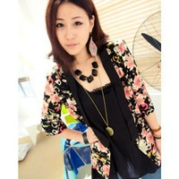 Black Women Autumn New Style Flower Print Mid Sleeve Cotton Coat M/L @WH0398b $16.99 only in eFexcity.com.