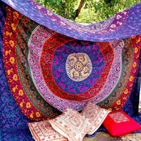 Retro Mandala Tapestry Wall Hanging Moroccan Indian Printed Decorative Wall Elephant Tapestries 180x148cm