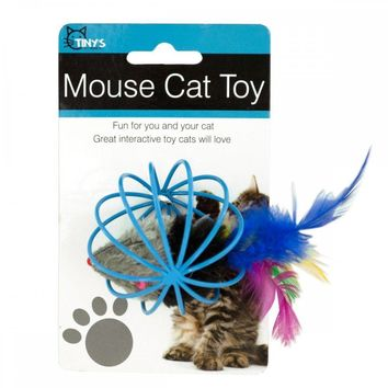 Feathered Mouse In Ball Cage Cat Toy HX182
