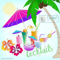 Clipart, Cocktails, Tropical, Scrapbooking, Journaling, Card Making, Paper Craft Supplies, Instant Download - Island Cocktails