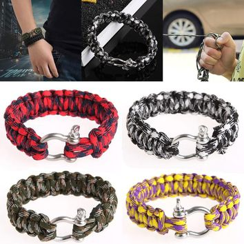 Free Shipping Stainless Steel Buckle Rope Paracord Bracelet Hiking Camping Outdoor Survival First Aid Kits Parachute