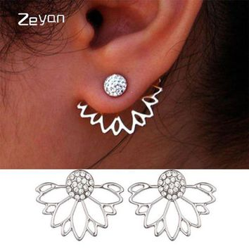 CREYIJ6 Trendy Jewelry Gold Silver Plated Hollow Out Lotus Flower Crystal Stud Earrings  Jacket Piercing Earrings For Women zyeh003