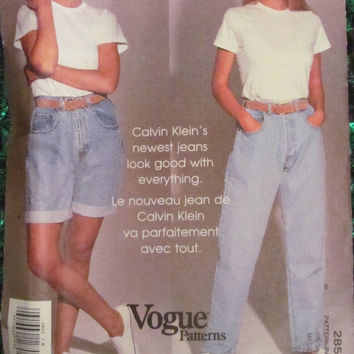 SALE Uncut Calvin Klein Vogue Sewing Pattern,  2851! Size Medium 8-10 women's/Misses, Shorts/Pants/Jeans/Jean Shorts, Summer/Spring, Casual