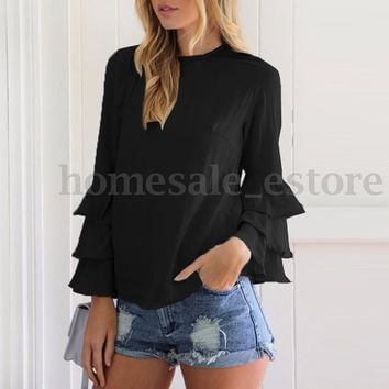ZANZEA Elegant Women Long Bell Sleeve Ruffled Flounce Blouse Casual Shirt Tops