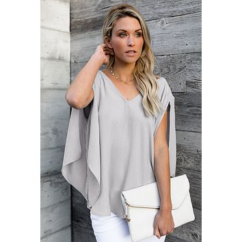 Fashion Gray V-Neck Bowknot Three-Quarter Sleeve Blouse