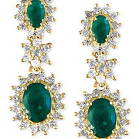 Effy Collection 14k Gold Earrings, Emerald (2 ct. t.w.) and Diamond (7/8 ct. t.w.) Drop Earrings - Earrings - Jewelry & Watches - Macy's