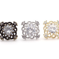 Square Lace filigree stud earrings detailed with Cubic Zirconia in 3 colors
