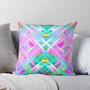 'Colorful digital art splashing G473' Throw Pillow by MEDUSA GraphicART