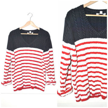 vintage TOMMY HILFIGER striped sweater 90s v neck NAUTICAL red + white + blue cable knit pull over jumper os