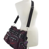 Banned UK Striped Punk Rock Steampunk Purse with Handcuff Skull Charm