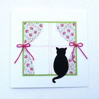 All Occasion Card, Handmade Blank Card, Cat in the Window