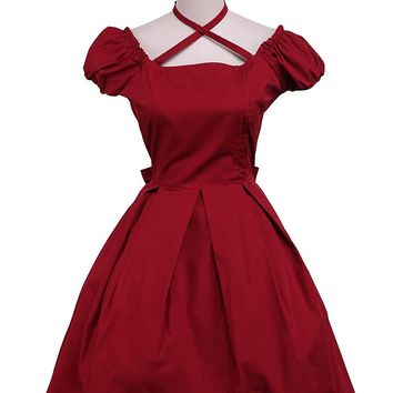 LoliBaby Gothic Classic Cotton Back Bow Retro School Lolita Dress Red