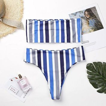 DCCKR2 Fashion trend one word collared the chest stripe swimsuit sexy two-piece suit bikini