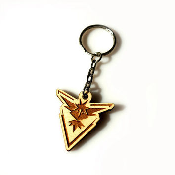 Pokemon GO Wooden Keychain Instinct Team Laser Etched and Engraved The Best Gift for Her for Him