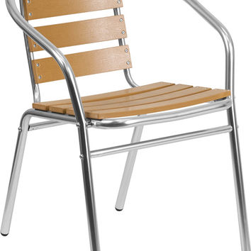 Aluminum Commercial Indoor-Outdoor Restaurant Stack Chair with Triple Slat Faux Teak Back