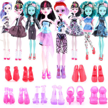 Cheapest! 10 items  5 Suit Clothes + 5 Pair Shoes Monster Doll High Accessories Fashion
