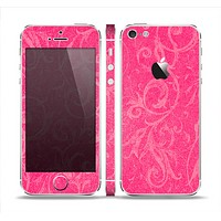 The Subtle Pink Floral Laced Skin Set for the Apple iPhone 5