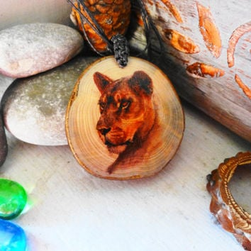 Lioness Necklace, Natural Gift Ornament Creative Necklace, Wood Lioness pendant, Gifts for him, Gifts for her, African motive, Lioness sign