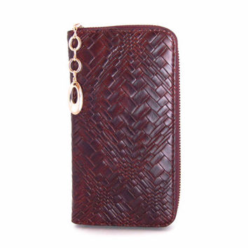 Handmade vegan leather wallet purse Maroon Braided