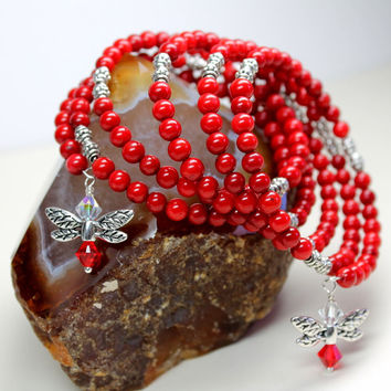 Red Coral Memory Wire Bracelet, Red Bamboo Coral Gemstones, Red Bangle Bracelet, Red Beaded Bracelet