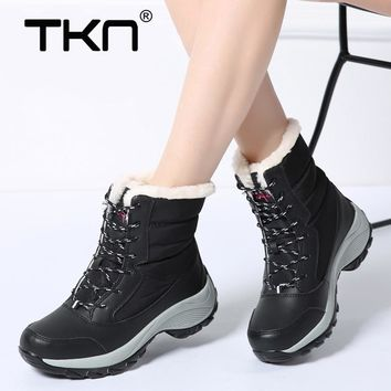 Women Winter Snow Boots Soft Warm Plush Rubber Sole Lace Up Flats Chaussure Femme Waterfroof Mid-Calf Boots Shoes Woman 1617