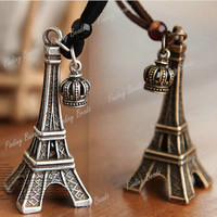 1pc Effiel Tower Crown Sculpture Square Chain 85cm Pendant Necklace 4*1.8*1.8cm