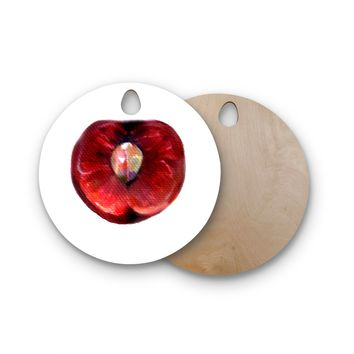 """Theresa Giolzetti """"Cherry"""" Red White Round Wooden Cutting Board"""