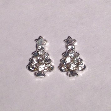 Rhinestone Christmas Tree Plugs & Earrings 14g-8g