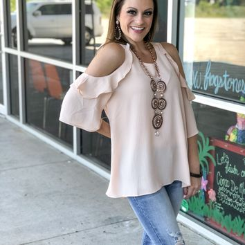 Bisque ruffle cold shoulder top