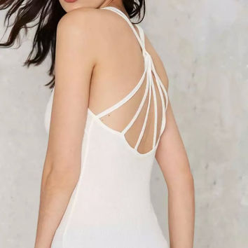 Halter Spaghetti Strap Backless Cross Sleeveless Knitting Top