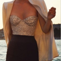 Sequin Strapless Top