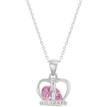 """925 Sterling Silver Pink CZ Crown Pendant Necklace for Girls Kids Teens 16"""""""