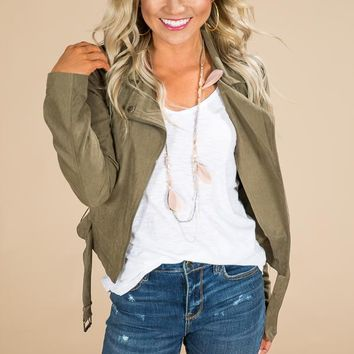 Falling Leaves and Lattes Lightweight Jacket in Army Green