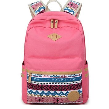 Korean Canvas Printing Backpack Women School Bags for Teenage Girls Cute Bookbags Vintage Laptop Backpacks Female mochila
