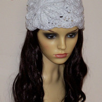 White women chunky beanie hat adult size with crochet flower