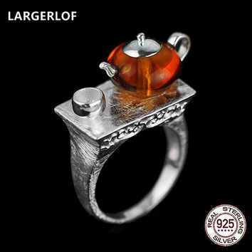 LARGERLOF Real 925 Silver Jewelry Natural Amber Ring Handmade Fine Jewelry Vintage Rings  JZ3055