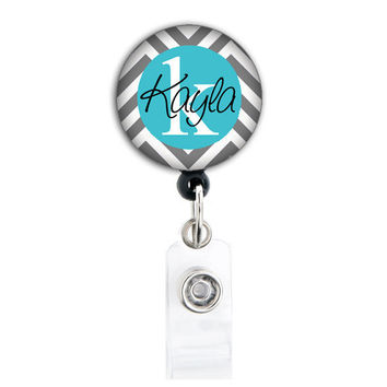 Retractable ID Badge Holder - Personalized Name - Grey and Tiffany Blue
