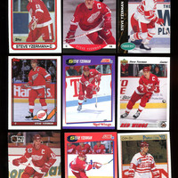 Detroit Red Wings Vintage Steve Yzerman 90's Hockey Cards,lot of 9 Cards,Great condition