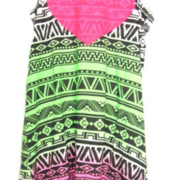 New! Flowers By Zoe Youth Girls Color Tribal Sequin Heart Maxi Dress - L (12)