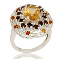925 Sterling Silver Smokey Quartz and Citrine Gemstone Cluster Statement Ring