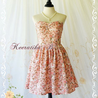 A Lovely Queen Sweet Romance Pastel Floral Dress Roses Pink Prom Dress Floral Party Dress Wedding Bridesmaid Dress Tea Dress Custom Made