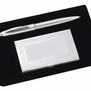 Free Engraving Personalization 2 Piece Office Gift Set Business Card Holder and Pen