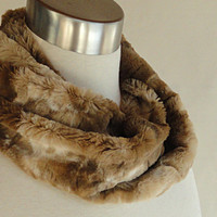 Faux Fur Infinity Scarf - Toffee Textured Faux Rabbit - Minky