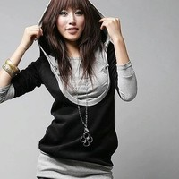 Buy Korean Hooded Two-piece T-shirt with cheapest price wholesale-dress.net