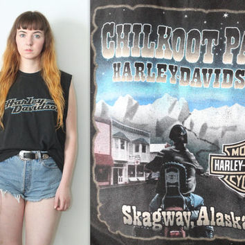 Vintage Upcycle Harley Davidson Motorcycle // Muscle Tee Shirt // Alaska // One Size / Small Medium Large