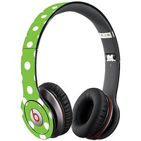 White Polka Dot on Lime Skin  for the Beats Solo HD by skinzy.com
