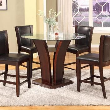 "5 pc Camelia espresso finish wood base and 54"" round glass top counter height dining table set"